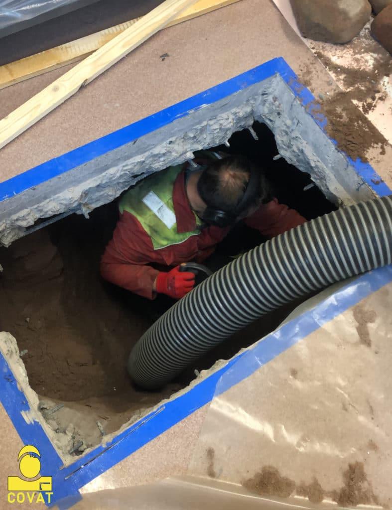 Alapohjan rakenneavaus betonilaattaan ja täyttöaineksen poisto suurtehoimurilla