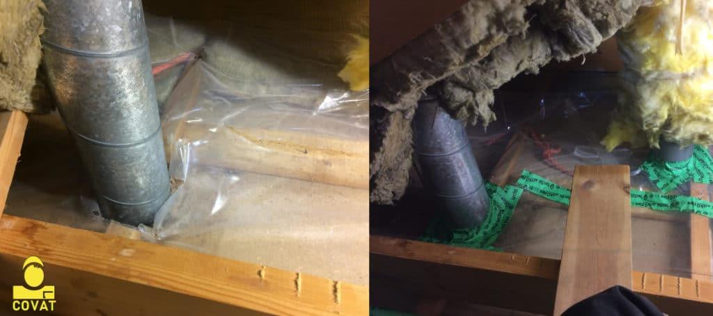 korjattu ilmanvaihtokanavan läpivienti yläpohjassa